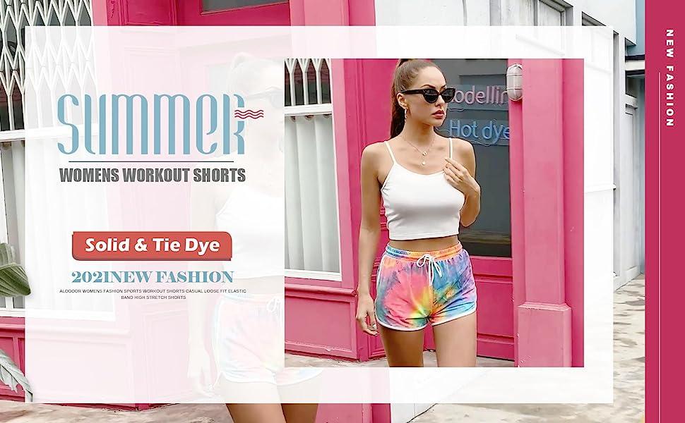 womens shorts for summer casual workout shorts  drawstring yoga shorts