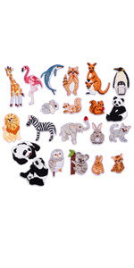 21 Pieces Cute Mini Zoo Animal Iron on Patches