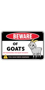 Beware of Goats Sign