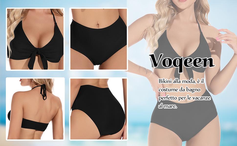 Costumi da Bagno Donna Vita Alta Imbottito Reggiseno Bikini Cinturino Due Pezzi Abiti da Spiaggia