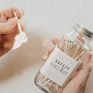 match matches jar glass safety marches assortment black pink white handwritten label