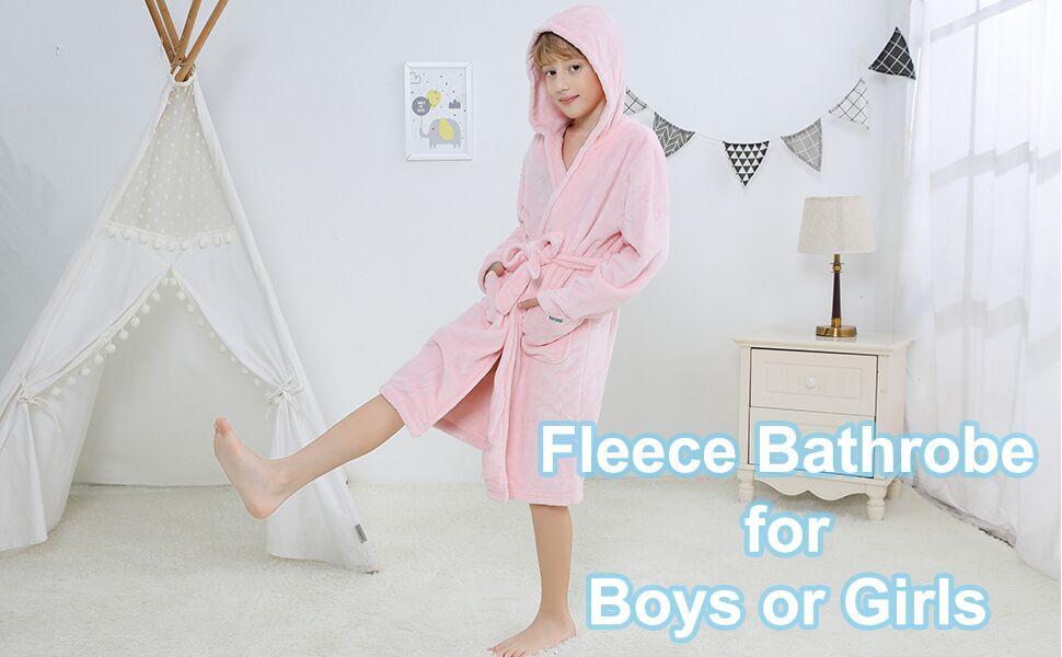 kids soft fleece bathrobe for boys or girls robe
