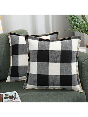 black and white buffalo check pillow covers