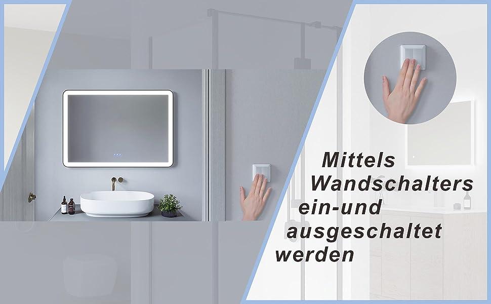 Badezimmerspiegel mit LED Beleuchtung Schwarz Rahmen 100x70cm GARDES Typ C