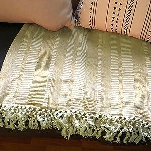 Striped Throw - Yellow Throw Blanket - Throw Blanket - Decorative Throw Blanket