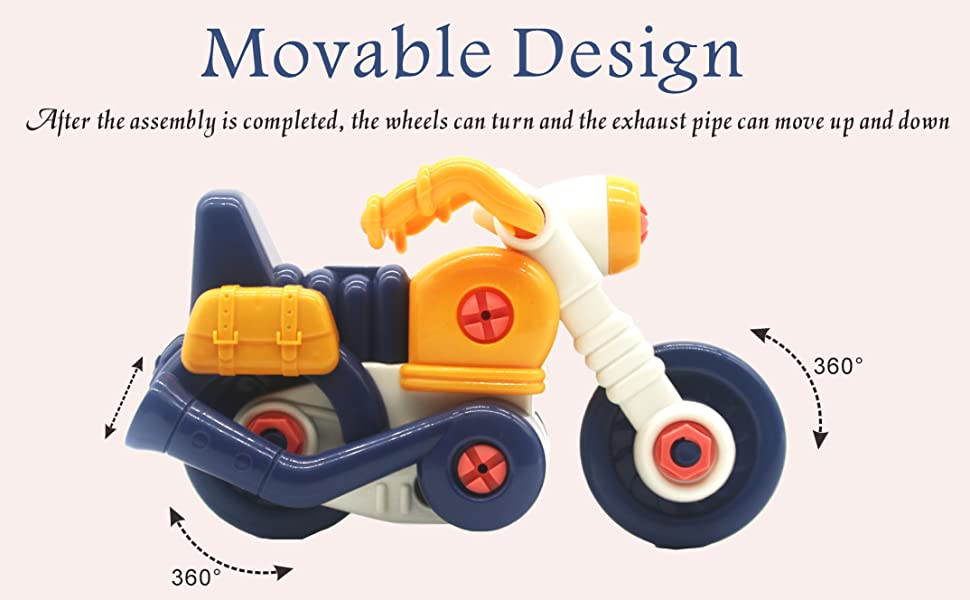 Motorbike vehicle take apart toy set ages 3 4 5 6 years educational toy stems boys building gift