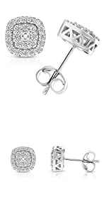 Vir Jewels   1/2 cttw Round Diamond Stud Earrings in .925 Sterling Silver With Rhodium Cushion