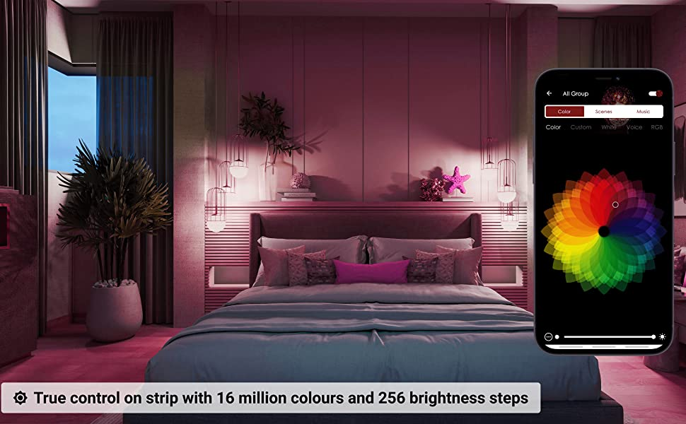 True Control On strip with 16 million colors and 256 brightness steps