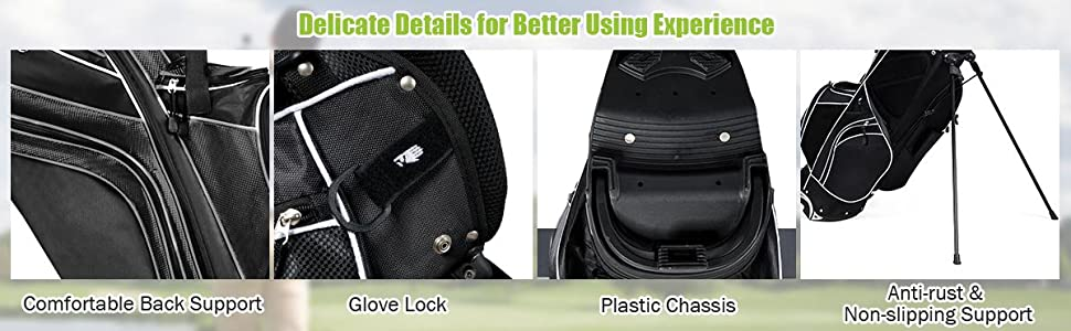 considerate details of durable high quality golf stand bag