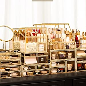 Stackable Gold Glass Beauty Display Box
