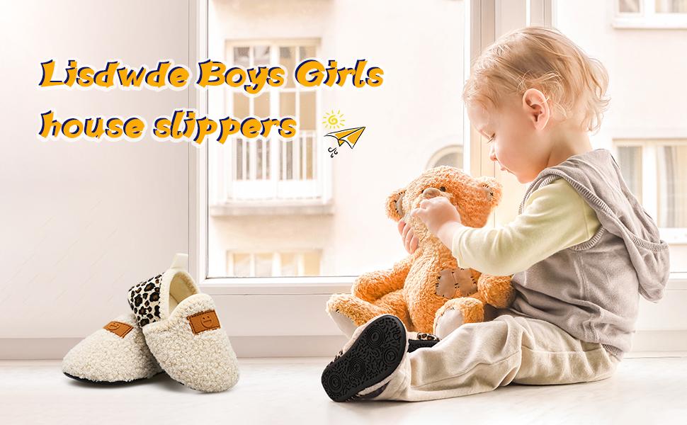 Lisdwde Toddler Boys Girls House Slippers Indoor Home Shoes Warm Socks for Kids