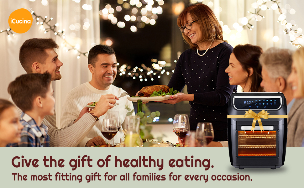 Family enjoying home cooked meal from Air Fryer Toaster Oven Combo