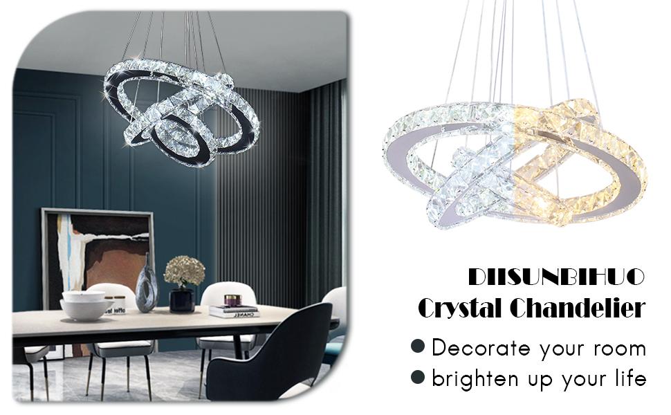 LED Rings Crystal Chandelier