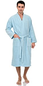 TowelSelections Mens Luxury Robe, Turkish Cotton Terry Kimono Soft Bathrobe