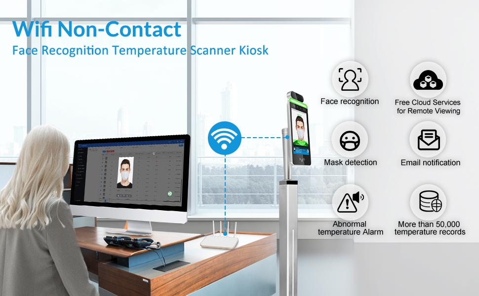 Wi-Fi Non-Contact Face Recognition Temperature Thermal Scanner Kiosk with with touch screen