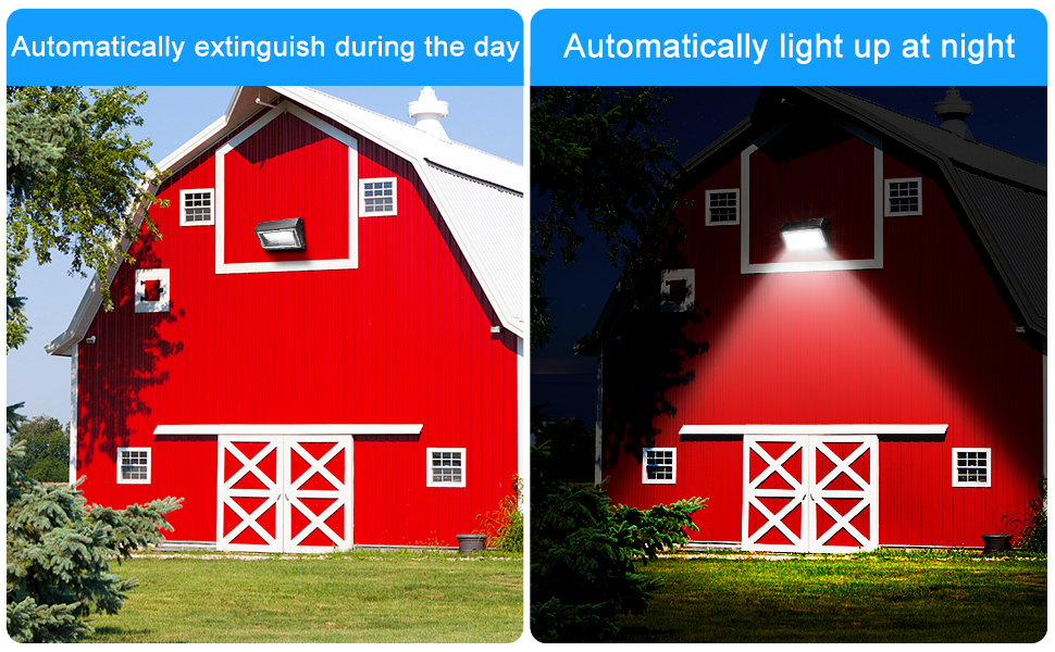 LED wall pack light with photocell