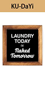 Laundry Today Tomorrow Framed Block Sign Rustic