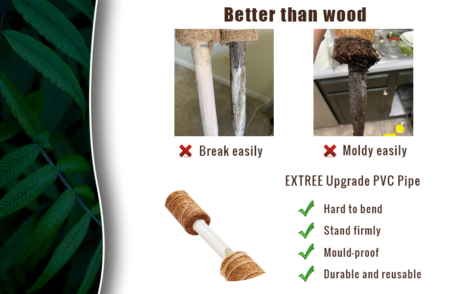 EXTREE coconut coco coir totem trellis for potted plant better than wood