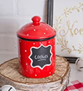 Red polka dot cookie canister with chalk board label