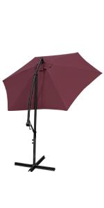Patio Umbrella Offset Outdoor Garden Market Poolside Canopy Adjustable Tiliting Umbrella Pole