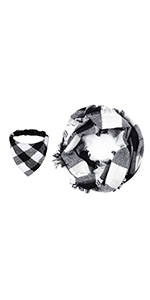 Plaid Dog Bandana Collar Matching Owner Infinity Scarf