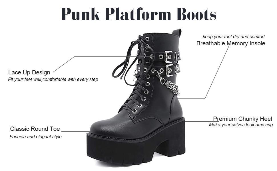 punk boots platform boots black boots mid calf boots