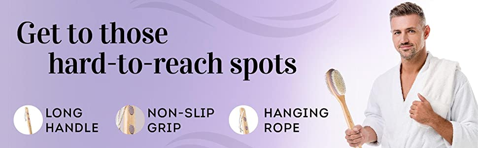 Get to those hard to reach spots long handle non slip grip hanging rope