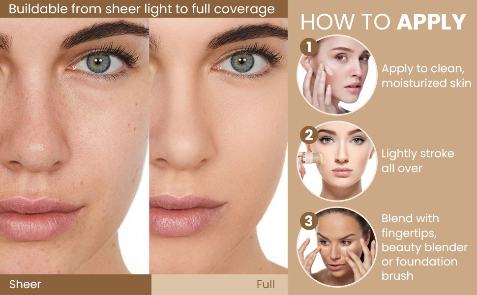 Buildable sheer to full coverage. Stroke BB Stick over face and blend with fingertips