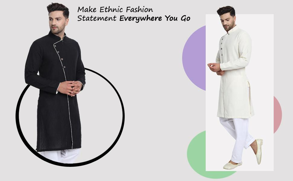 Men's stylish side button casual cotton kurta pajama set