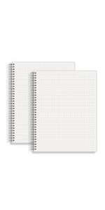 Large 5mm Grid Graph Ruled Spiral Notebook 8.5 x 11 IN