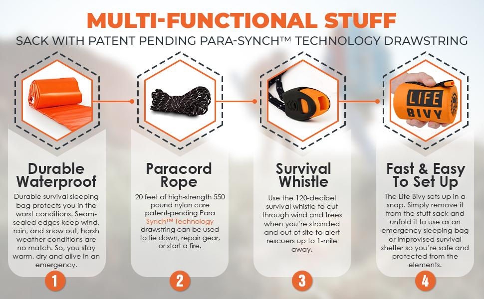 Waterproof survival sleeping bag comes with survival whistle