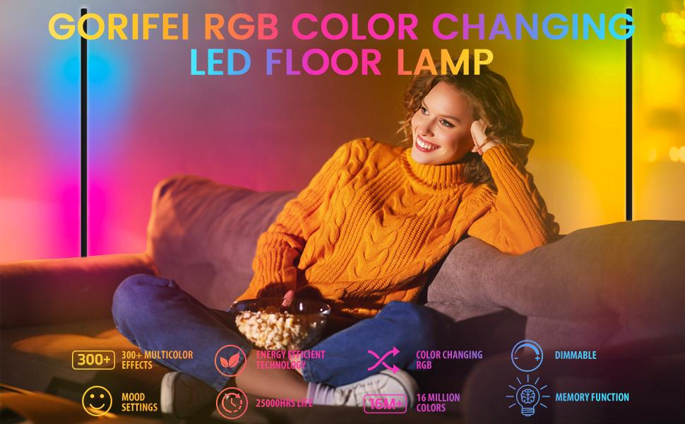 GORIFEI RGB floor lamp modern minimalist LED dimmable remote control color changing bedside lamp