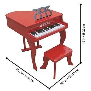 Schoenhut red piano measurements