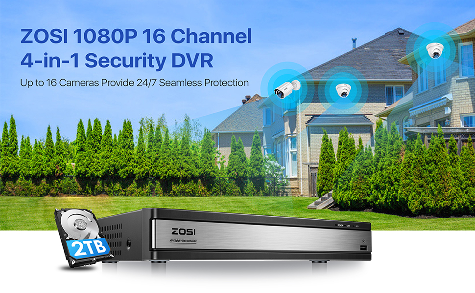 1AR-16WK20 1080P 16 channel security dvr with 2TB HDD