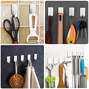20 Pieces Self Adhesive Stainless Steel Wall Hooks