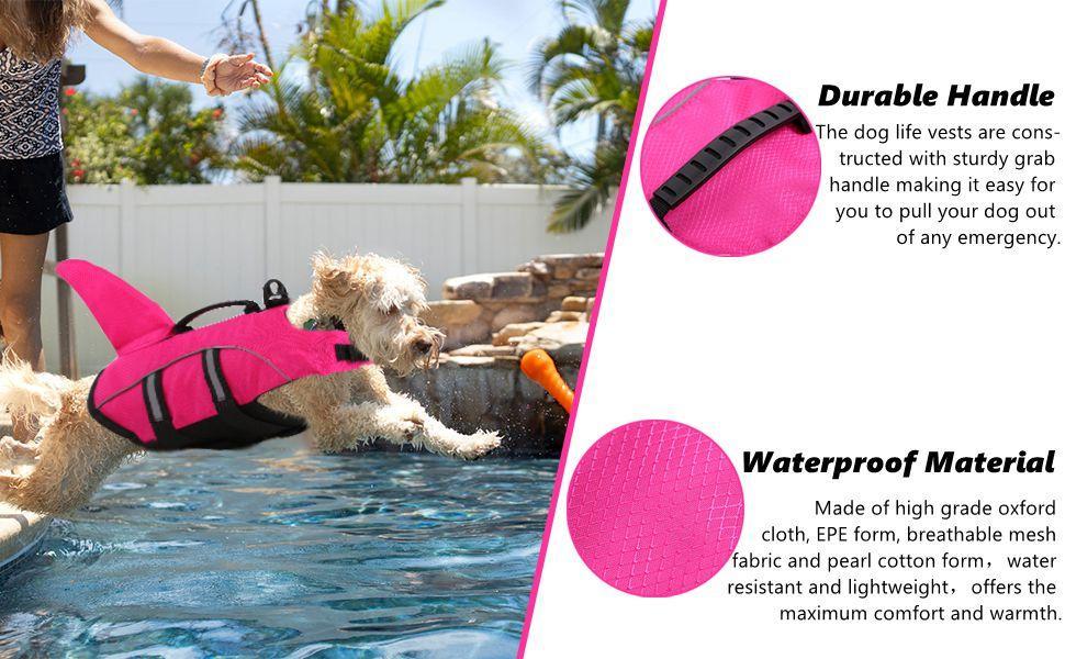 dog life jacket swimming vest mermaid shark fin lifejacket large small medium ripstop lifesaver