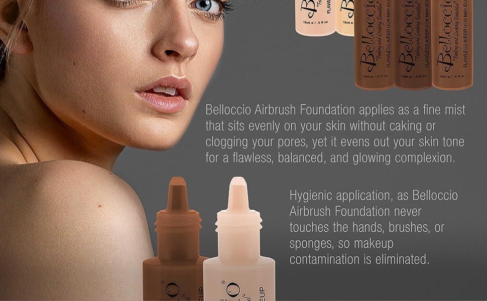 Belloccio Professional Cosmetic Grade Airbrush Makeup Foundation Matte Finish, Water Based