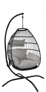 Sunnydaze Delaney Hanging Egg Chair with Stand
