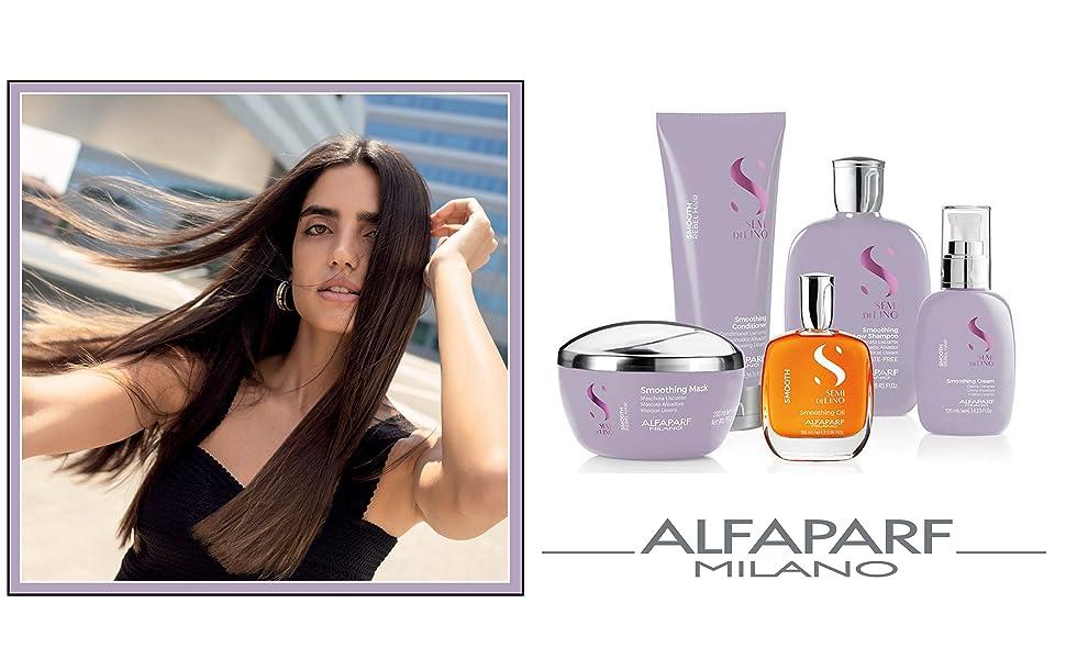 alfaparf milano semi di lino smooth smoothing shampoo conditioner mask cream anti-frizz
