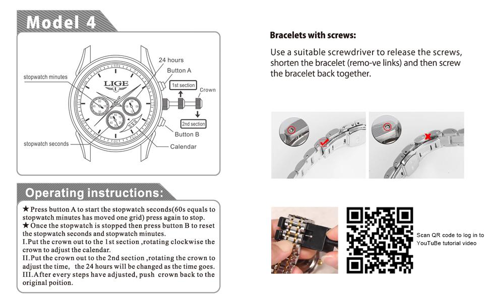 Men's stainless steel business watches  Stainless steel watch chain length adjustment