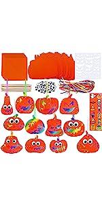 72 Sets Fall Magic Color Scratch Pumpkin Cutouts Craft Kit