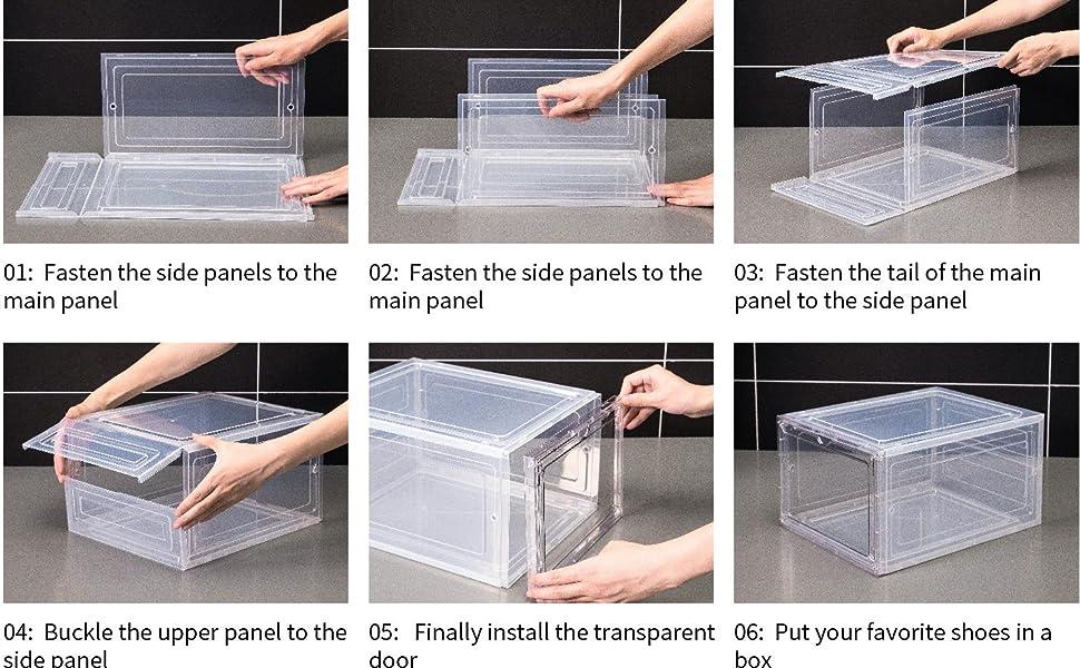 Dorp front shoe box,stackable Plastic Shoe box,Clear shoe box,shoe storage box, shoe box organizer