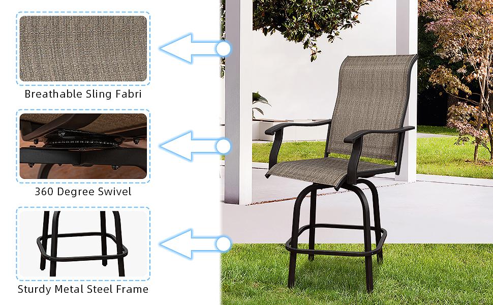 Breathable Sling Fabric   360 Degree Swivel  Sturdy Metal Steel Frame