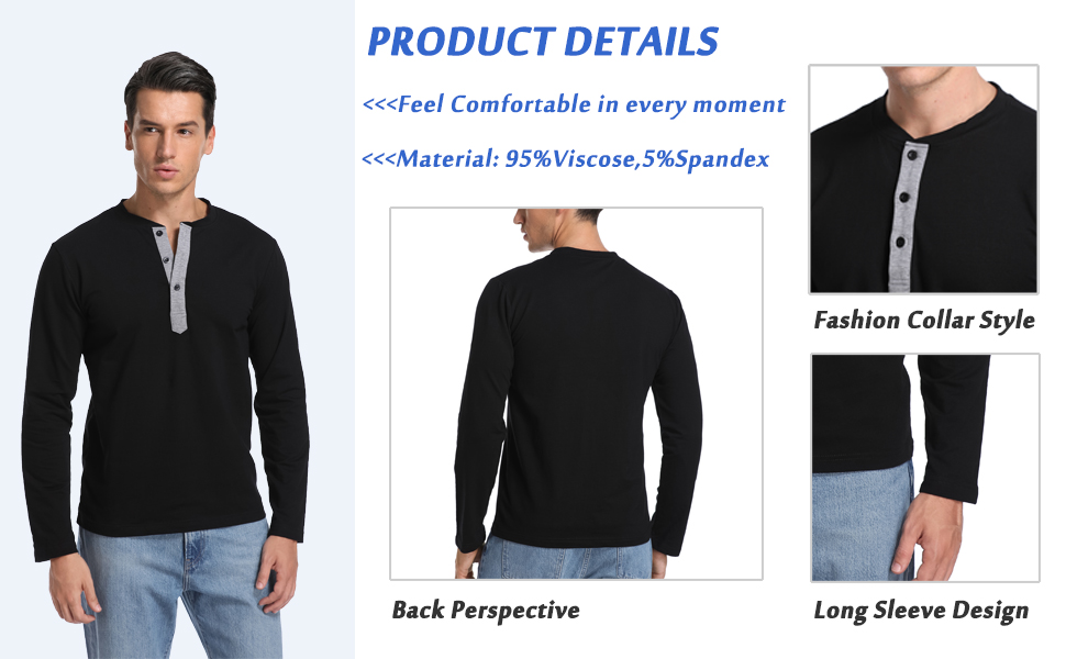 Mens henley collar classic long sleeve tops winter soft comfortable mens clothing