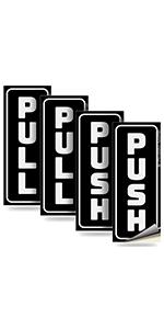 Push Pull Door Vertical Stickers Sign