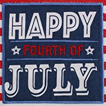 """DII 4th of July-themed """"Happy Fourth of July"""" embroidered dishtowel."""