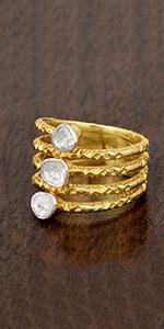 0.50 CTW Natural Uncut Polki three Diamond  Ring 925 Sterling Silver