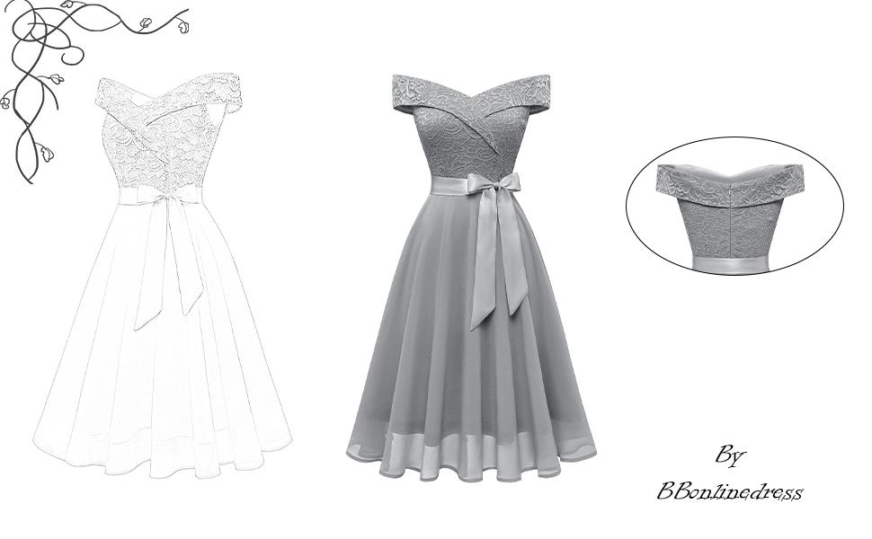 Lace chiffon bridesmaid dress