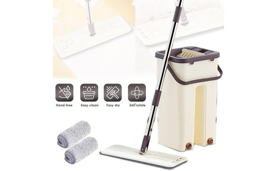 Mop with Bucket Hands-Free Microfiber Flat Spin Mop System 360° Flexible Head
