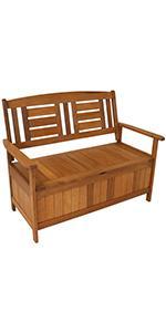 Sunnydaze Meranti Wood Outdoor Storage Bench with Teak Oil Finish - 51-Inch